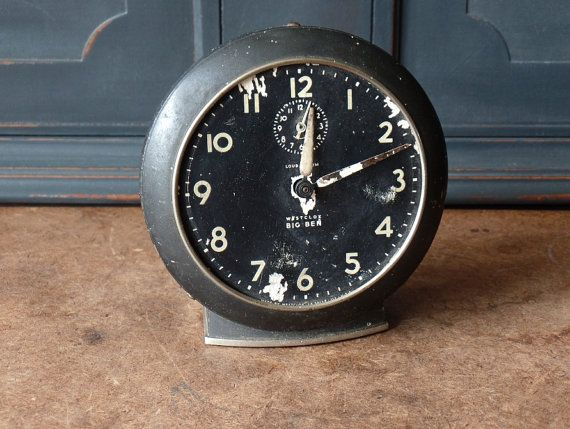 Vintage Clock, Big Ben, Westclox, Black, Salvaged, Industrial, Alarm, Wind Up