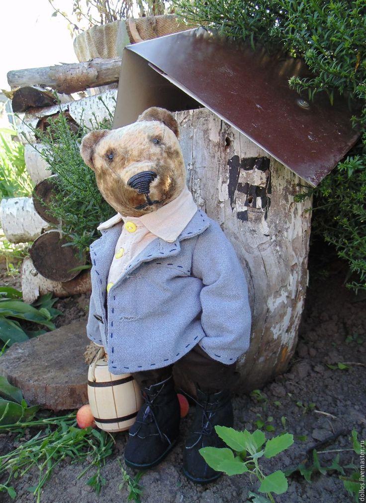 Купить Пчеловод Власий - серый, мишка, коллекционный мишка, деревня, мед, деревня мишкино, крестьянка