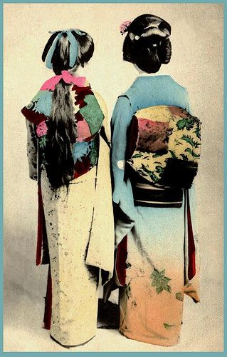 SHOW ME THE OBI !  A Liberal and a Conservative in Old Japan by Okinawa Soba, via Flickr. #kimono #geisha #japan