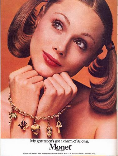 Monet Jewelers ad, 1973 by Gatochy #MayisGoldMonth #MIGM #Gold #Earrings #Vintage #Necklace #Charms #ThrowbackAd #YellowGold #GoldCollective