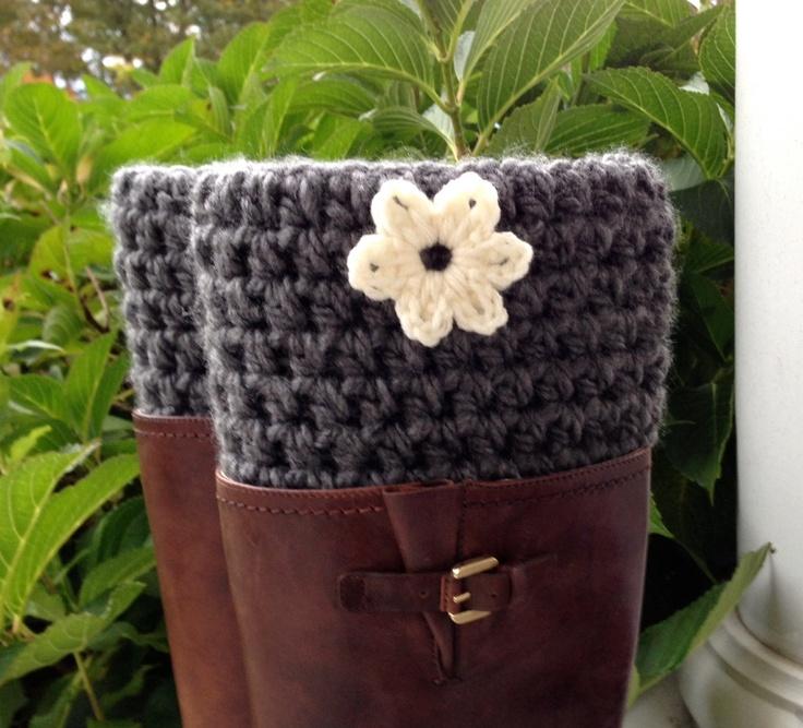 Crochet  Boot Cuffs, Boot Toppers, Short Leg Warmer, Charcoal Grey, Chunky, Birthdays, Gifts for Her, Teens, Girls, Handmade LEGJE407CF2. $34.00, via Etsy.
