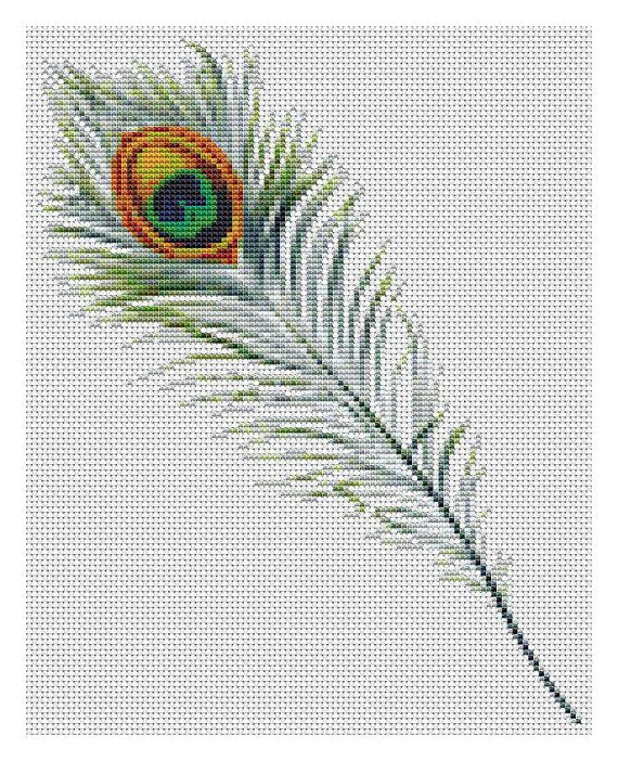 Available in both Cross Stitch Chart PDF and Cross Stitch Kit. Peacock Feather designed by the Art of Stitch @Etsy #crossstitch