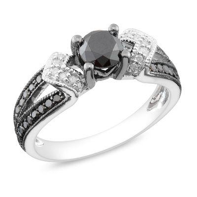 Black diamond loveWedding Ring, Shanks Rings, Diamonds Split, Black Diamonds Rings, Black And White, Split Shanks, Jewelry, White Diamonds, Engagement Rings