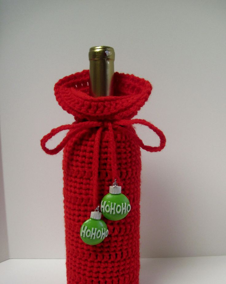 Image detail for -Red Crochet Christmas Wine Bottle Covers Sacks by CrochetCluster