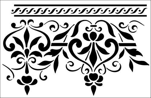 Border No 6 stencil from The Stencil Library OTTOMAN range. Buy stencils online. Stencil code OTT6.