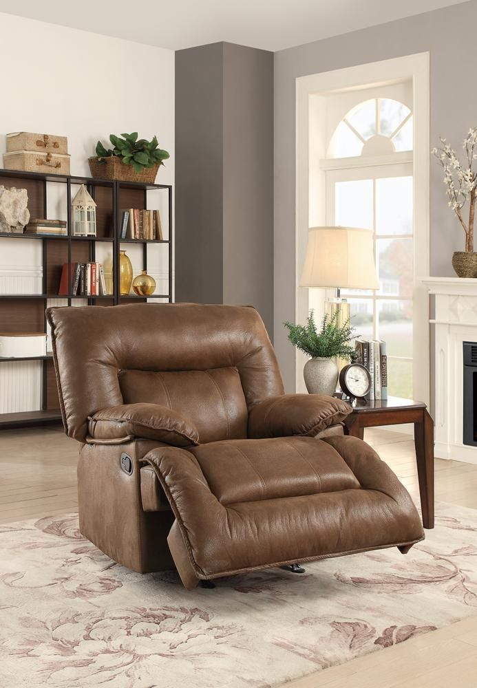 Leatherette Rocker Recliner With Back In Dark Brown With Images Rocker Recliners Recliner Leatherette