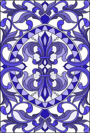 Скачать - Illustration in stained glass style with abstract  swirls,flowers and leaves  on a light background,vertical orientation gamma blue — стоковая иллюстрация #169499902