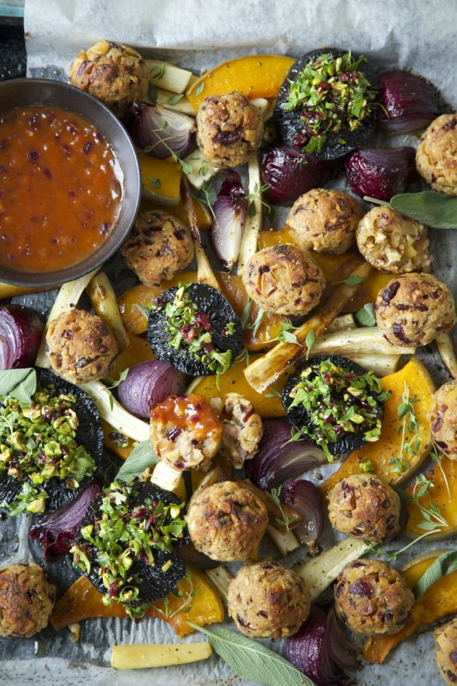 Vegetarian or Vegan Christmas Roast with Cranberry, Sage and Cashew Nut Stuffing Balls and Tomato Onion Gravy