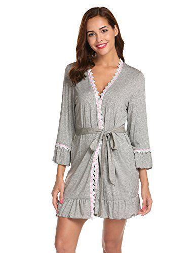 88209586bf504b Untlet Damen Morgenmantel V-Ausschnitt Kimono mit Spitze Nachthemd Langarm  Bademantel Kurz Nachtwäsche Baumwolle Robe. Hinweise: bei Grau/Sc… |  PINSHOP ...