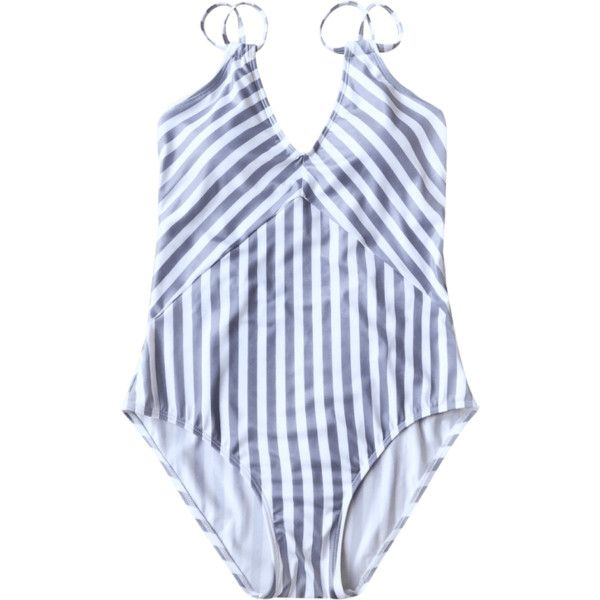 Slimming Striped Strappy One Piece Swimsuit White And Purple ($15) ❤ liked on Polyvore featuring swimwear, one-piece swimsuits, striped one-piece swimsuits, purple one piece swimsuit, white bathing suit and white one-piece swimwear