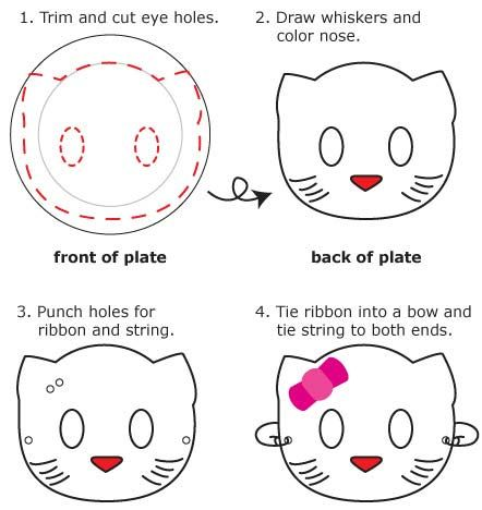 Instructions for how to make a hello kitty mask out of a for Hello kitty mask template