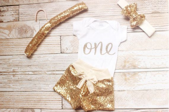 Gold Sequin shorts baby sequin shorts first by NylaMarieKids
