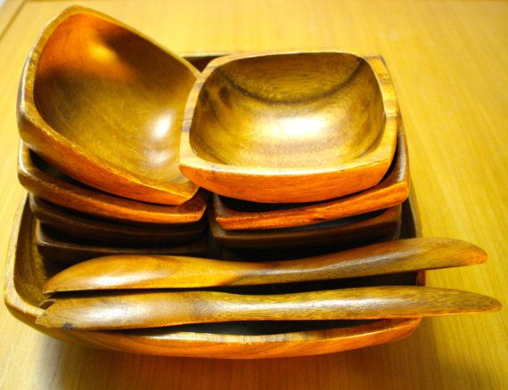 VINTAGE Wooden Salad Bowl Serving set Serves by LuckySevenVintage, $24.00