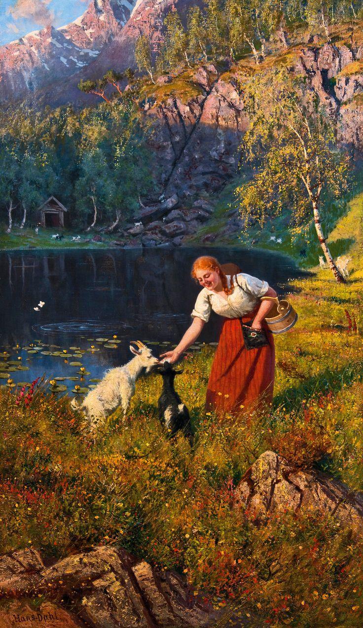 Hans Dahl (1849–1937): Budeie med geiter ved et vann