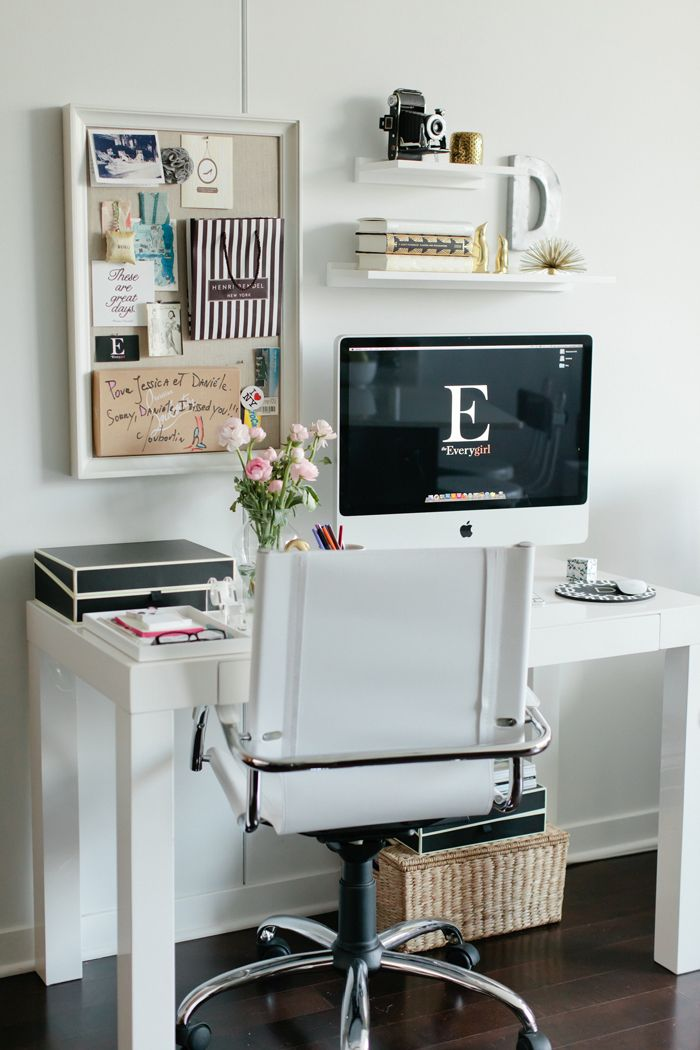 Parsons desk & swivel leather desk chair / West Elm Savannah basket & pinboard / Pottery Barn Note from Christian Louboutin / priceless gift from my sister Semikolon document box & acrylic tape dispenser / The Container Store cool background slash screensaver