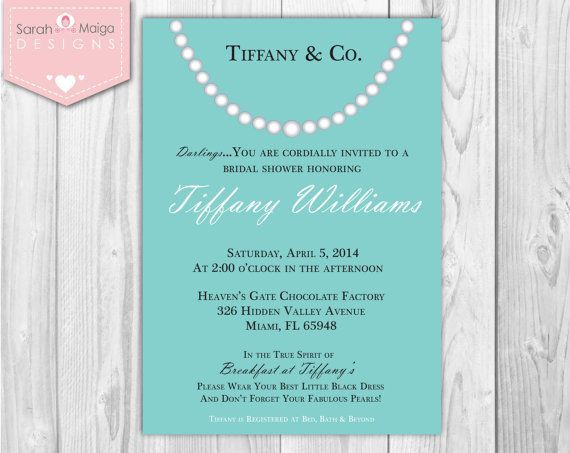 Tiffany And Co Bridal Shower Invitations | Tiffany and Co. Blue & White Pearl Necklace by sarahmaigadesigns, $29 ...