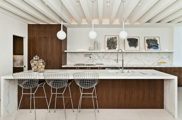 modern kitchen with waterfall counter