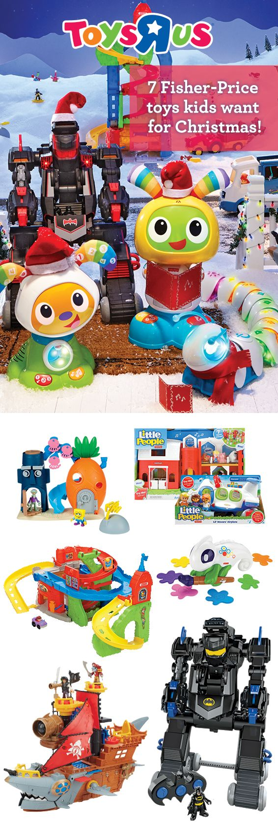 "A world of fun awaits! Toys""R""Us has the largest selection of Fisher-Price toys anywhere, so you're sure to find the perfect gift for little ones with growing imaginations. With the pretend-play adventures of Little People and Batman play sets, the skill-building excitement of Code-a-Pillar and Color Chameleon the sheer sing along fun of BeatBo, the joy of Fisher-Price toys grows with them!"