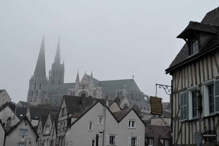 Chartres cathedral in the fog, France.