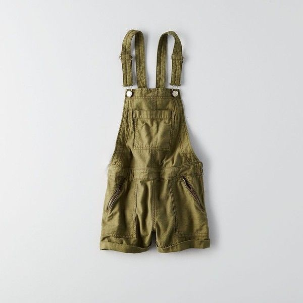 AE Zip Pocket Shortall ($60) ❤ liked on Polyvore featuring green, american eagle outfitters and short overalls