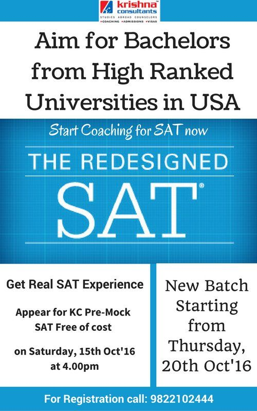 Krishna Consultants is holding a Pre-Mock #SAT, FREE of cost on 15th Oct, 2016 at 04.00 pm. Regular SAT batch starting on 20th OCT, 2016.