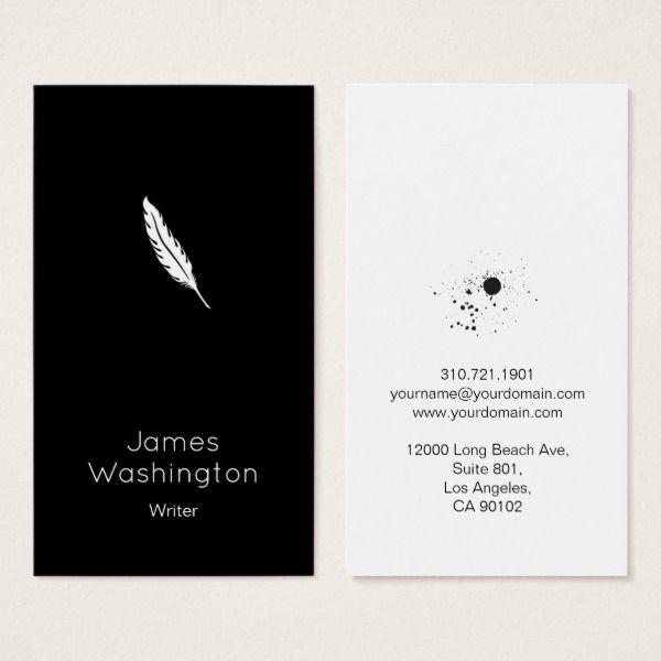Minimalistic Vintage Writer Business Card Black Zazzle Com Business Card Black Business Card Design Inspiration Card Writer
