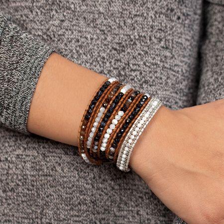 Brown Sardonyx Stone Mix Wrap Bracelet on Natural Brown Leather - Chan Luu
