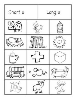 Short and Long Vowel sorts with cute pictures and the sounds are mixed up, not together, so they really have to sort them.