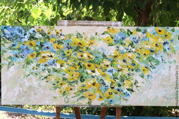 Купить Большая желтая бежевая бирюзовая синяя голубая картина с цветами масло - живопись мастихином