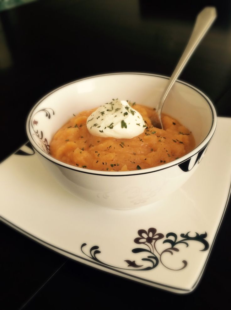 PKU-friendly roasted butternut squash and sweet potato bisque soup