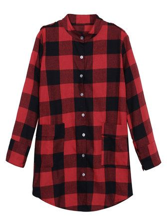 Women Casual Long Sleeve Plaid Loose Pocket Button Long Blouses at Banggood