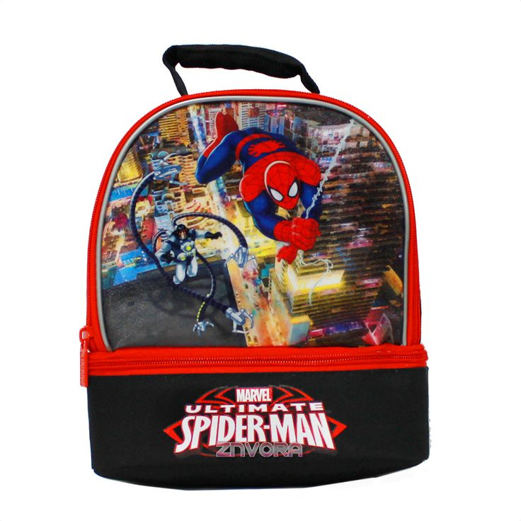 Marvel Spiderman Dual-Compartment Lunch Box Bag- Spider Man