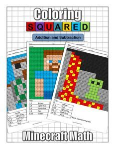 Coloring Squared Unofficial Minecraft Addition And Subtraction MobsPrintable SheetsAddition