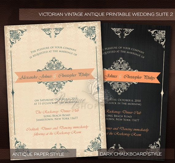 Antique Victorian Style Vintage Wedding Suite 2 - PRINTABLE DIY Wedding Invitation, RSVP & Thank You Card  by Ruxique