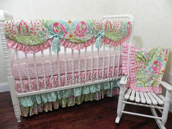 Custom Girl Crib Bedding Set Kara - Baby Girl Bedding, Kumari Gardens Bumperless Crib Bedding, Scalloped Crib Rail Cover, Ruffled Crib Skirt