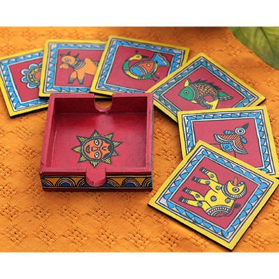 Hand painted madhubani tea coaster set from The Color Caravan..