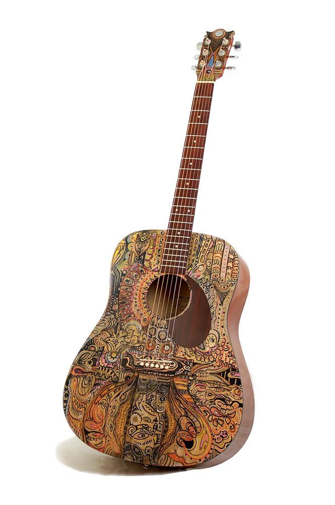 "Acoustic Guitar - Modified ""Below the Surface""  Art Instrument.  Using guitar, which is wood, as a surface for an art gives the feeling that art is part of the music and making the art have more depth"