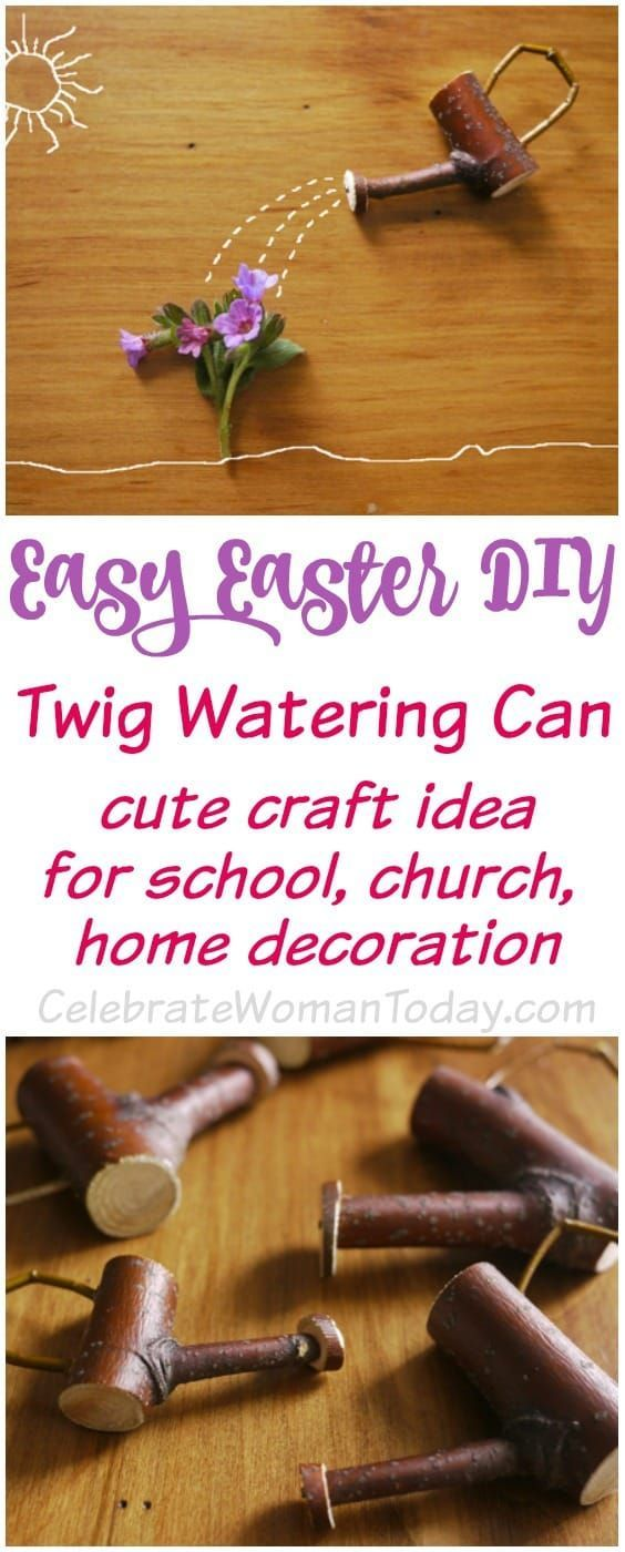 Easy Easter DIY Cute Twig Watering Can Craft Idea.  Make this simple craft for your homeschooling, classroom, and church projects, and for craft fairs!  #EASTER #craft #HeartThis #MothersDay #DIY
