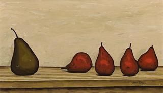 Pears by John Brack (1920 - 1999), 1957, oil on canvas, 31.0 x 52.5 cm | Deutscher and Hackett