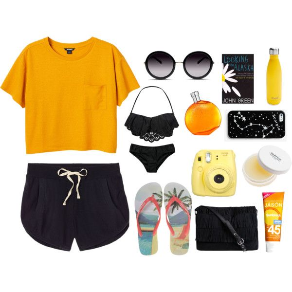 beach day: let's get orange by srsstreetcouture on Polyvore featuring polyvore, fashion, style, Monki, Victoria's Secret, Seafolly, Dsquared2, Pieces, GlassesUSA, Hermès, Darphin, Jason and Kate Spade Saturday