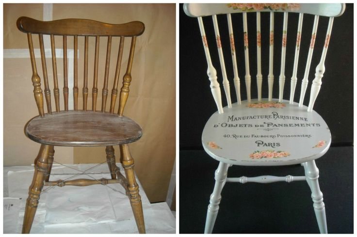 This is a before and after of a chair that I found abandoned by the roadside. I painted the chair in two different shades of grey and then I distressed the chair and added the floral decoupage and French typography.