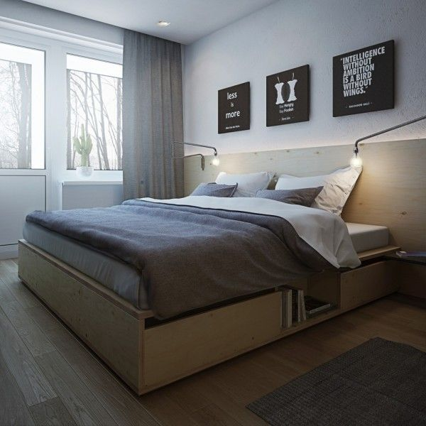 In the bedroom, storage is key. With shelving built into the custom bed frame as well as tall bookshelves and a long narrow console under the television, there are plenty of places to hide away those daily accessories that don't need to be on display.