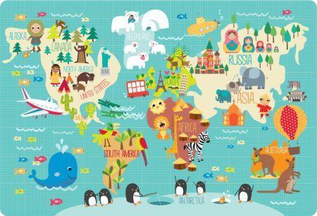 Kid World Map Poster.Martina Hogan Childrens World Map Maps Map Map Art World