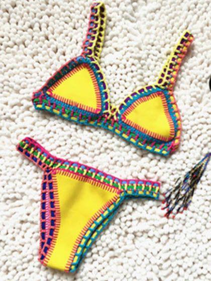 Cute Multi Color Hand made Bikini Set