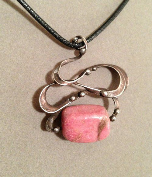 Art Nouveau mixed metal pendant necklace from the Alchemic Collection by Laura Beth Love