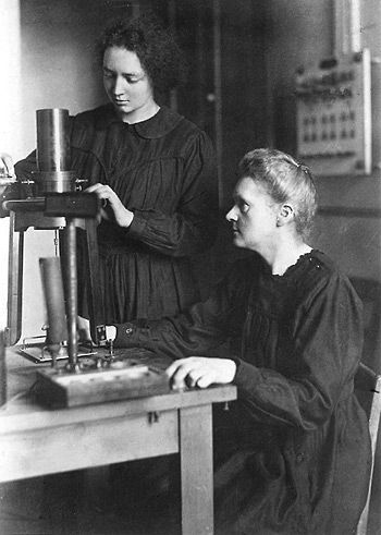 Marie Curie and her daughter Irène in the laboratory at the Radium Institute in Paris, France, 1921