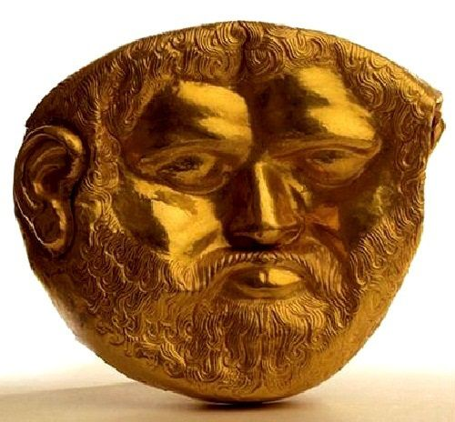 Golden mask discovered in August 2004 in a burial in the Svetitsa tumulus near Kazanlak, Bulgaria. 4th c. BC.
