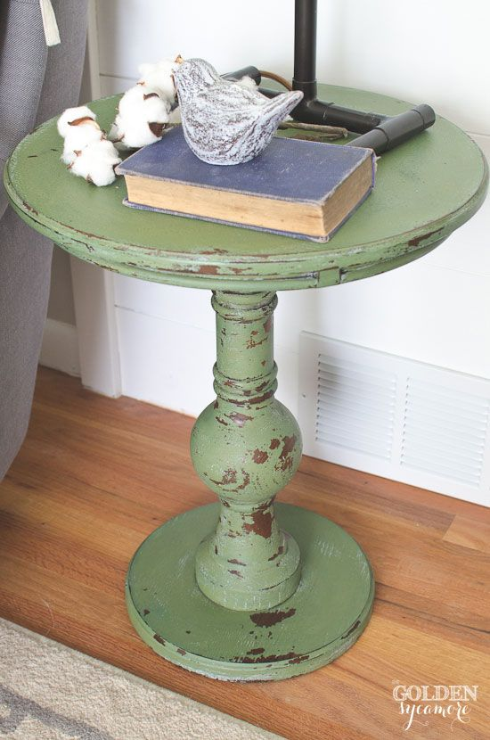 Chippy Boxwood milk painted end table