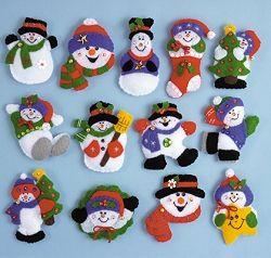Lots of Fun Snowmen Craft Felt Applique Ornaments Kit 5352 - set of 13