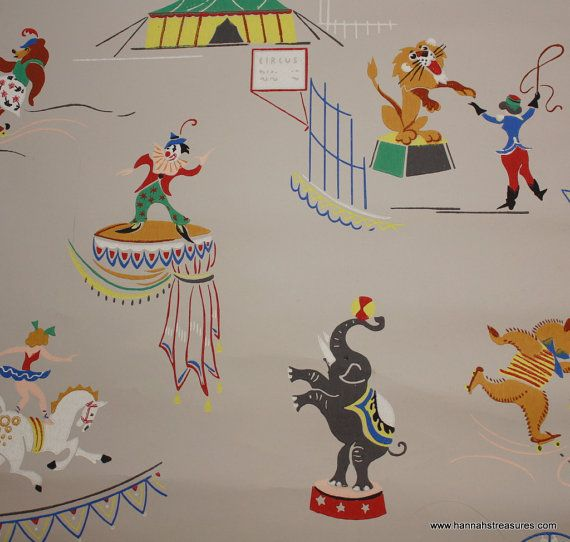 1940's Vintage Circus Wallpaper for Nursery by HannahsTreasures
